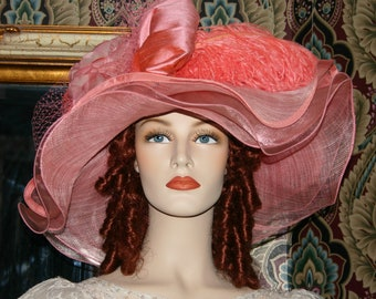 Fashion Hat, Kentucky Derby Hat, Ascot Hat, Edwardian Hat, Tea Hat, Titanic Hat, Somewhere in Time Hat, Wedding Hat, Coral Hat - Coral Sea