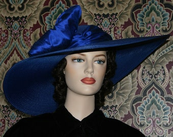"Kentucky Derby Hat, Ascot Hat, Edwardian Hat, Titanic Hat, Kentucky Derby Hat, Blue Hat 22"" Wide Brim - Titanic"