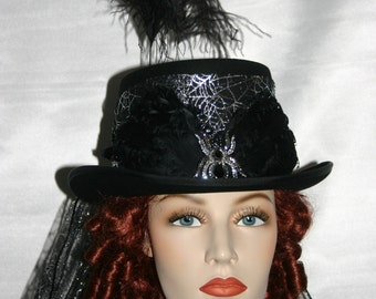 Victorian Hat, Gothic Hat, Top Hat, Steampunk Hat, Halloween Hat, Black Hat, Spider Hat, All Hallows Eve - Countess Dracula