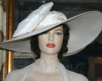 Kentucky Derby Hat, Ascot Hat, Edwardian Tea Hat, Titanic Hat, Somewhere in Time Hat, Downton Abbey Hat, Ivory Wedding Hat - Titanic