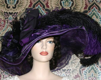 Kentucky Derby Hat, Del Mar Hat, Ascot Hat, Edwardian Hat, Tea Party Hat, Red Hat Society, Purple Hat - Purple Sunset