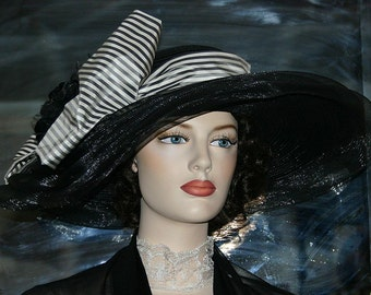 Kentucky Derby Hat, Ascot Hat, Edwardian Hat, Wide Brim Tea Hat, Titanic Hat, Somewhere Time Hat - Lady Rose