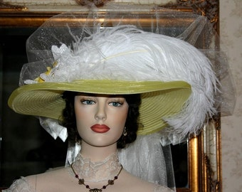 Victorian Hat, Kentucky Derby Hat, Ascot Hat, Titanic Hat, Somewhere Time Hat - Lemon Meringue Delight