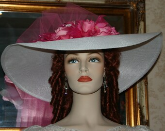 Kentucky Derby Hat, Southern Belle Hat, Ascot Hat, Edwardian Hat, Tea Hat Titanic Hat, Women's White & Pink Hat - Sweetheart of Miami