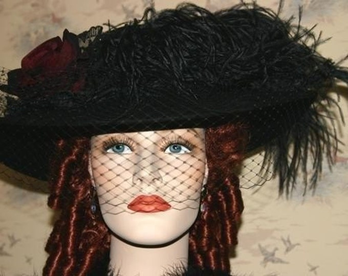Featured listing image: Edwardian Hat, Downton Abbey Hat , Ascot Hat, Kentucky Derby Hat, Titanic Tea Hat, Somewhere Time Hat, Tea Party Hat - Lady Margaret