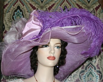 Kentucky Derby Hat, Ascot Hat, Edwardian Hat, Tea Hat, Titanic Hat, Somewhere in Time Hat, Royal Wedding - Wild Thistle