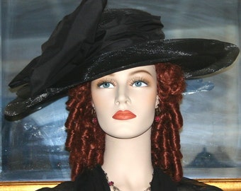 Kentucky Derby Hat, Titanic Hat, Ascot Hat, Edwardian Hat, Black Hat, Wide Brim Hat, Funeral Hat - Lady Rose
