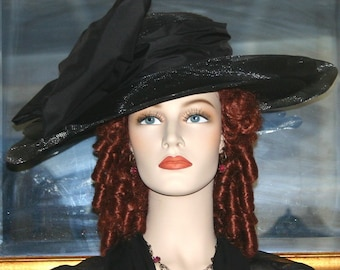 Kentucky Derby Hat, Downton Abbey Hat, Titanic Hat, Ascot Hat, Edwardian Black Hat Wide Brim Hat, Funeral Hat - Lady Rose