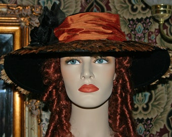 Edwardian Tea Hat, Copper Hat, Kentucky Derby Hat, Ascot Hat, Titanic Hat - Mademoiselle Belle - 4-6 Weeks for Completion