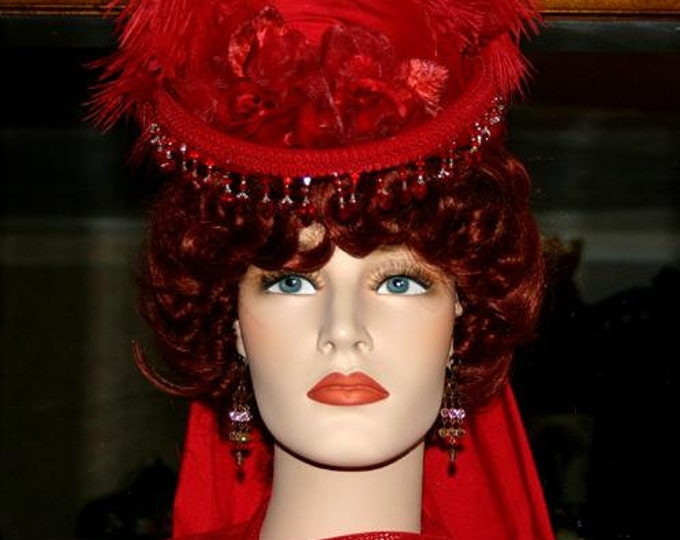 Featured listing image: Victorian Hat, Red Hat Society, Sidesaddle Hat, Tea Party Hat, SASS Hat, Riding Hat, Cocktail Hat Kentucky Derby - Phoenix 2