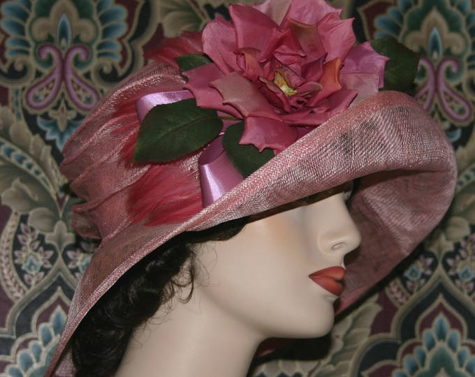 Featured listing image: Edwardian Hat, Gatsby Hat, Downton Abbey Hat, Church Hat, Titanic Hat, Easter Hat - Rosy O'Brian