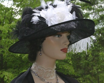Edwardian Hat, Downton Abbey Hat, Kentucky Derby Hat, Ascot Hat, Titanic Hat, Somewhere Time Hat - Countess of Grantham