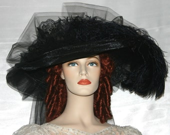 Victorian Hat, Kentucky Derby Hat, Tea Party Hat, Funeral Hat, Titanic Tea Hat - Black Delight