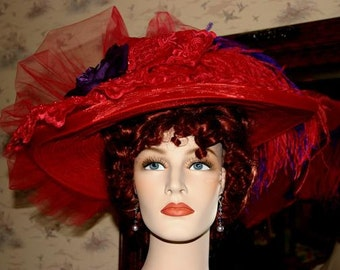 Edwardian Hat, Red Kentucky Derby Hat, Ascot Hat, Tea Party Hat, Wide Brim Hat, Red Hat Society - Red Crystal Fairy V