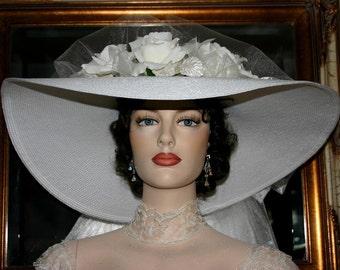 "Victorian Hat, Kentucky Derby Hat, Ascot Hat, Southern Belle Hat, Wedding Hat, Church Hat, 22"" Wide Brim Hat - Sweetheart of Dallas"