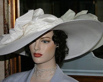 "Kentucky Derby Hat, Ascot Hat, Edwardian Tea Hat, White Hat, Somewhere Time Hat, Downton Abbey Hat, Wedding Hat, 22"" Wide Brim  - Titanic"