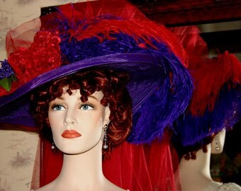 Victorian Hat, Kentucky Derby Hat, Ascot Hat, Tea Party Hat, Titanic Hat, Somewhere Time Hat, Red & Purple Hat - Purple Crystal Fairy