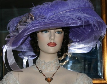 Kentucky Derby Hat, Royal Ascot Hat, Wedding Hat, Edwardian Tea Hat, Titanic Hat, Somewhere Time Hat, Downton Abbey Hat - Lady Ophelia