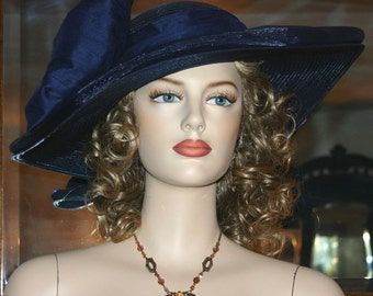 Kentucky Derby Hat, Ascot Hat, Edwardian Tea Hat, Titanic Hat, Somewhere in Time Hat, Edwardian Hat, Women's Navy Blue Hat - Titanic