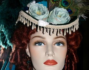 Victorian Hat, Steampunk Hat, SASS Hat, Victorian Riding Hat, Cocktail Hat, Kentucky Derby Hat, Aqua/Green Hat - Deadwood III