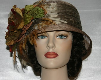 Kentucky Derby Hat, Flapper Hat, Gatsby Hat, Tea Party Hat, Church Hat, Wedding Hat, Women's Taupe Hat, Cloche Hat - Spice Tea