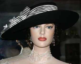 Women's Kentucky Derby Hat, Ascot Hat, Edwardian Hat, Tea Hat, Titanic Hat, Somewhere in Time Hat, Black & White - Lady Olivia