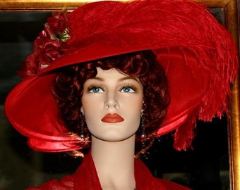 Kentucky Derby Hat, Ascot Hat, Edwardian Hat, Titanic Hat, Somewhere Time Hat, Downton Abbey Hat, Wide Brim Hat, Red Hat - Run for the Roses
