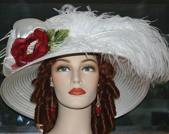 Kentucky Derby Hat, Ascot Hat, Edwardian Hat, Downton Abbey Hat, Somewhere in Time Hat, Red Rose Hat, Royal Wedding Hat - Lady Florence