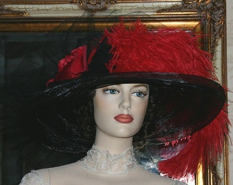 Edwardian Hat, Downton Abbey Hat, Kentucky Derby Hat, Ascot Hat, Titanic Hat, Somewhere in Time Hat, Wide Brim Hat - Senorita Carmelita