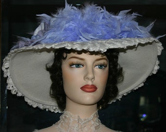 Kentucky Derby Hat,  Ascot Hat, Edwardian Hat, Titanic Hat, Somewhere Time Hat, Downton Abbey Hat, Fashion Hat, White Tea Hat - Lady Anna
