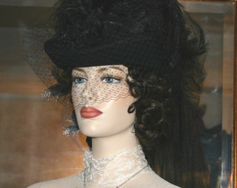 Victorian Hat, SASS Hat, Steampunk Hat, Funeral Hat, Mourning Hat, Black Hat - Seattle