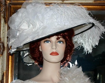 "Kentucky Derby Hat Edwardian Hat Downton Abbey Hat, Titanic Hat  ""Kentucky Morning"" White and Black Ascot Hat"