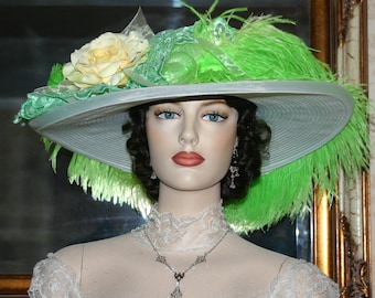 Edwardian Hat, Kentucky Derby Hat, Ascot Hat, Tea Party Hat, Titanic Hat, Somewhere Time Hat, Yellow Green Hat - Lemon-Lime Delight