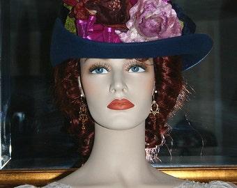 SPECIAL ORDER - Sherlock Holmes, Irene Adler, Kentucky Derby Hat, Ascot Edwardian Hat, Downton Abbey Hat, Women's Hat