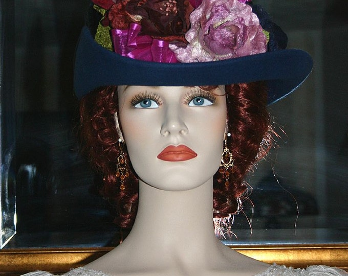 Featured listing image: SPECIAL ORDER - Sherlock Holmes, Irene Adler, Kentucky Derby Hat, Ascot Edwardian Hat, Downton Abbey Hat, Women's Hat