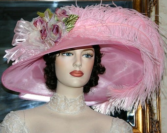 Kentucky Derby Hat, Ascot Hat, Tea Party Hat, Titanic Hat, Fashion Hat, Wide Brim Hat, Wedding Hat, Somewhere Time Hat - Run for the Roses