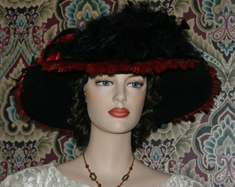 Edwardian Hat, Kentucky Derby Hat, Ascot Hat, Del Mar Hat, Somewhere Time Hat, Fashion Hat, Wide Brim Hat, Womens Hat, Titanic - Lady Lanna