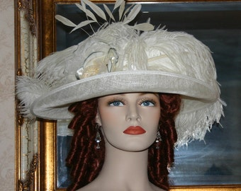 Edwardian Hat, Downton Abbey Hat, Kentucky Derby Hat, Ascot Hat, Tea Party Hat, Wedding Hat, Titanic Hat - Countess of Grantham
