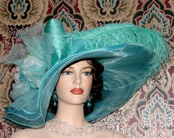 Edwardian Hat, Kentucky Derby Hat, Ascot Hat, Tea Party Hat, Titanic Hat, Downton Abbey Hat, Wedding Hat - Lazy River