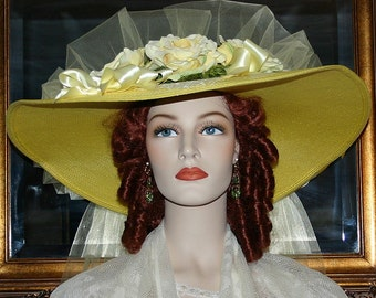 Kentucky Derby Hat, Ascot Hat, Victorian Hat, Southern Belle Wedding Hat, Church Hat, 22 inch Women's Wide Brim - Texas Sweetheart