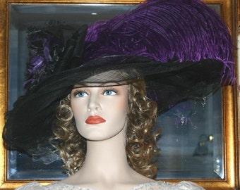 Ascot Hat Kentucky Derby Hat Wide Brim Tea Hat Titanic Hat Somewhere in Time Hat Downton Abbey Hat Edwardian Hat Black - Mademoiselle Sabine