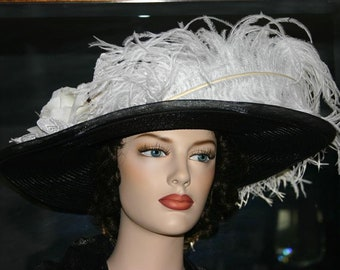 Edwardian Hat, Kentucky Derby Hat, Ascot Hat, Tea Party Hat, Titanic Hat, Somewhere Time Hat - White Black Delight