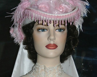 Victorian Hat, SASS Hat, Tea Party Hat, Wedding Hat, Kentucky Derby Hat, Pink & Ivory Hat, Cocktail Hat - Baton Rouge