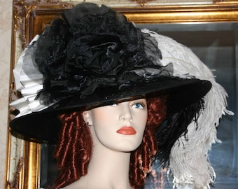 Kentucky Derby Hat Ascot Edwardian Tea Hat Downton Abbey Hat Ascot Hat Black & Ivory Tea Hat Wide Brim Hat Women's - Lady Tracy