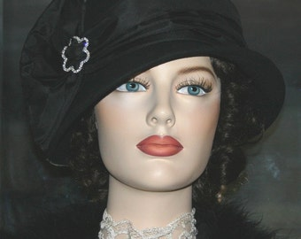 Kentucky Derby Hat, Flapper Hat, Church Hat, Cloche Hat, Gatsby Hat, Roaring Twenties Hat, Women's Black Hat - Josephine