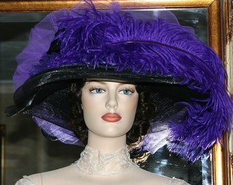 Edwardian Hat, Kentucky Derby Hat, Ascot Hat, Tea Party Hat, Titanic Hat - Black & Purple Delight