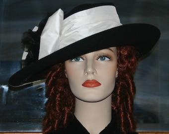 Women's Kentucky Derby Hat, Ascot Hat, Edwardian Tea Hat, Titanic Hat, Somewhere in Time Hat, Black and White - Lady Olivia
