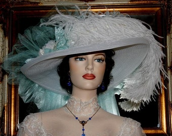 Victorian Hat, Kentucky Derby Hat, Ascot Hat, Tea Party Hat, Somewhere in Time Hat, Downton Abbey Hat, Wedding Hat - Sea Foam Crystal Fairy