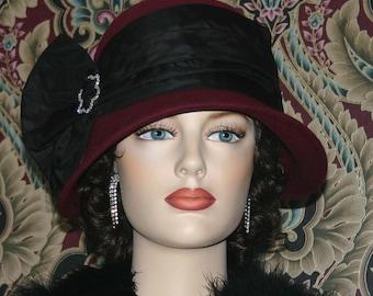 Kentucky Derby Hat Flapper Hat Gatsby Hat Cloche Hat Burgundy Roaring Twenties Hat Women's Burgundy Black Hat Church hat - Josephine