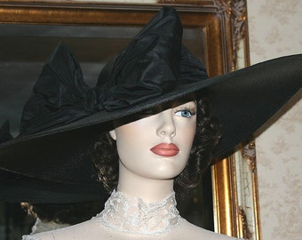 "Kentucky Derby Hat, Ascot Hat, Edwardian Hat, Tea Party Hat, Titanic Hat, 22"" Wide Brim Hat, Black Hat - Titanic"